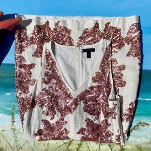 J.Crew Ivory White Linen Sequin Shift Dress Size 4